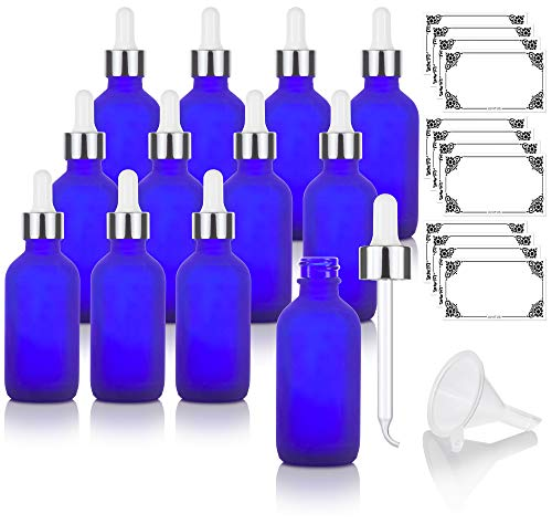 2 oz Frosted Cobalt Blue Glass Boston Round Bottle with Silver Metal and Glass Dropper (12 pack) + Funnel and Labels for Essential oils, Aromatherapy, E-liquid, Food grade, BPA free