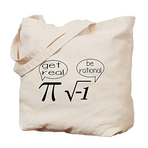 CafePress - Get Real, Be Rational Math Humor - Natural Canvas Tote Bag, Cloth Shopping Bag
