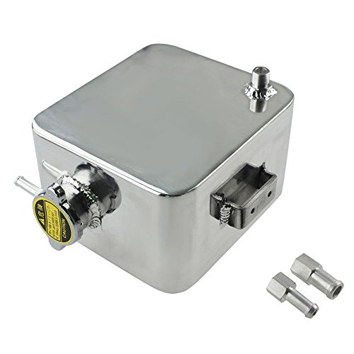 ALLOYWORKS 2.5L Aluminum Radiator Coolant Overflow Bottle Expansion Tank Polished Silver (Expansion Tank Overflow)