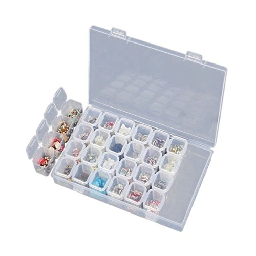 28 Grid Plastic Storage Box, MagicFeel 28 Compartment Organizer Box DIY Diamond Embroidery Painting Supplies Art Craft Jewelry Earrings Beads Display Case Container (1 Piece)