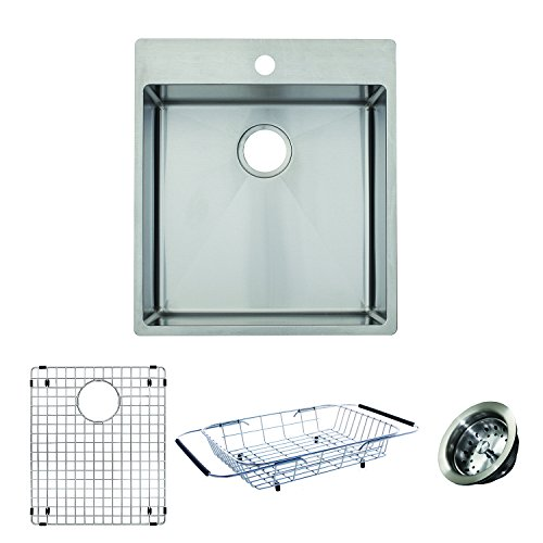 Franke HTS2022-1KIT Vector 19.5 inch Handmade Dual Mount Single Bowl deep Kitchen Prep Sink Kit, Stainless Steel