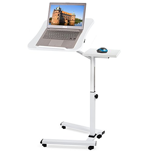 Tatkraft Like Portable Adjustable Folding Laptop Stand Table, Rolling Desk with Mouse Pad, White