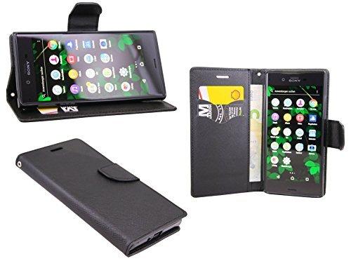 Sony Xperia XZ // Buchtasche Hülle Case Tasche Wallet BookStyle mit STANDFUNKTION in Schwarz @ Energmix