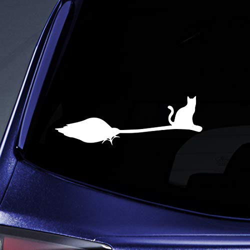 Bargain Max Decals Cat Sitting On Broom Silhouette