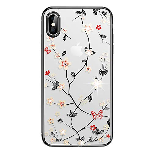 iPhone Xs Max Case,WATACHE Glitter Diamond Floral Branch Design Clear Back + Electroplated Hard PC Frame Scratch Resistant Slim Case for Apple iPhone Xs Max 6.5 Inch (Black)