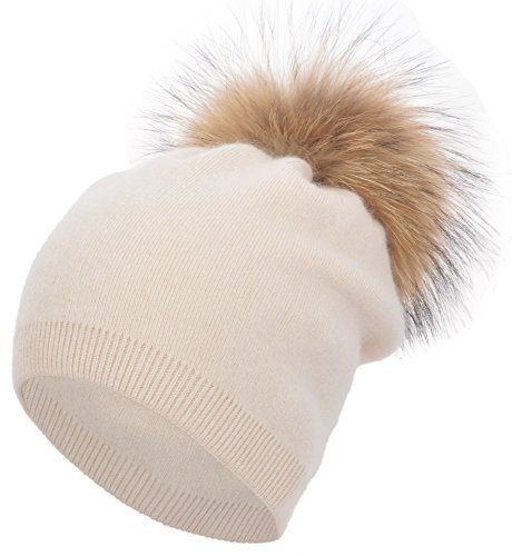 Women's Winter Warm Double-Deck Cashmere Wool Blend Removable Real Fur Pompom Slouchy Knit Beanie Hat(Beige)