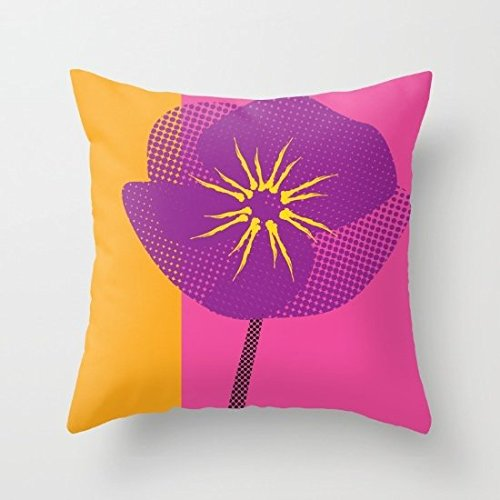 Decorative Square Pillow Case Cushion Cover 26X26 Inches Flower Abstract Variation Of Pop Art