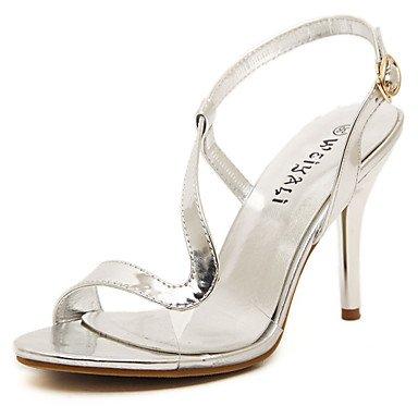 LvYuan Mujer-Tacón Stiletto-Confort Zapatos del club-Sandalias-Oficina y Trabajo Vestido Fiesta y Noche-PU-Plata Oro Silver