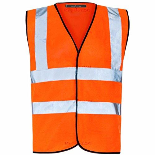 15ccac314226 MyShoeStore Hi Vis Vest Yellow   Orange Small to 6XL 2 Band   Brace ...