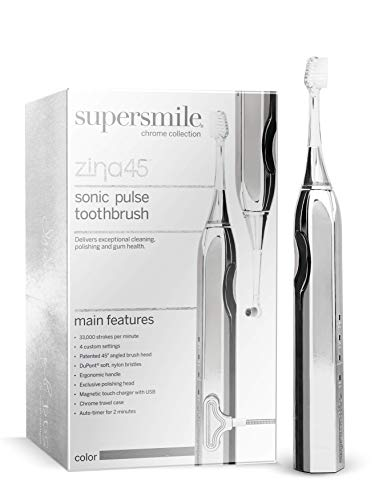 Supersmile Zina45 Deluxe Sonic Pulse Electric Toothbrush, Silver