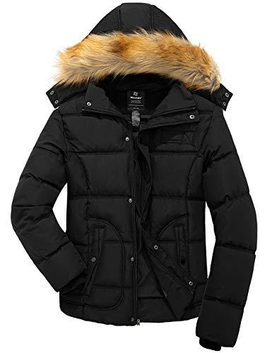 Wantdo Men Winter Puffer Coat Casual Fur Hooded Warm Outwear Jacket Black Medium