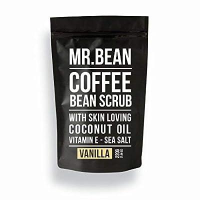 Mr. Bean Organic All Natural Coffee Bean Exfoliating Body Skin Scrub with Coconut Oil, Vitamin E, and Sea Salt - Vanilla