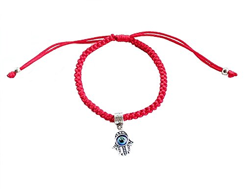 (Zen Styles Lucky Hamsa Kabbalah Red String Braided Charm Bracelet, Protects from Evil Eye, for Prosperity, Good Health, Longevity - Adjustable Women's Men's Silky Wool Rope, 27.5cm x 3.5cm (1 Hamsa))