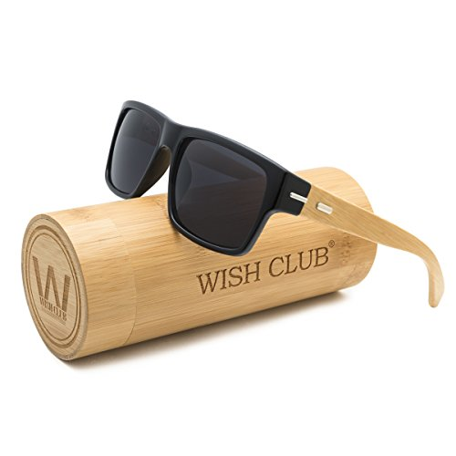 WISH CLUB Wood wayfarer Square Handmade Sunglasses UV 400 Lenses Classical Style for Women and Men Adults Wooden Bamboo Vintage Light Retro Glasses - The In Sunglasses Club