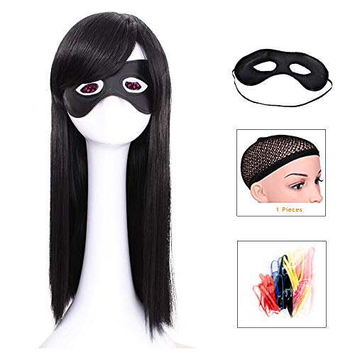 YuHe Long Straight Black Wig Synthetic Fiber Wig with Eye Mask for Women Natural Cosplay Costume Hair Heat -