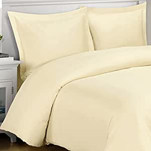 100% Bamboo Duvet Cover Set -Full/Queen, Solid Ivory- Super Soft, Rayon from Bamboo (Viscose) Duvet Covers