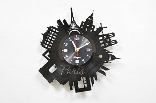 PARIS Vinyl Clock Wall Art Decor for Living Room Modern Art Birthday Gift Parisian Record Clock Eiffel Tower Home Decor Unique France Design - Paris Gift Idea Paris Wall Decor - Paris Wall Clock Black 4