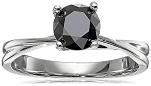 10k White Gold Black Diamond Solitaire Ring (1 cttw), Size 6