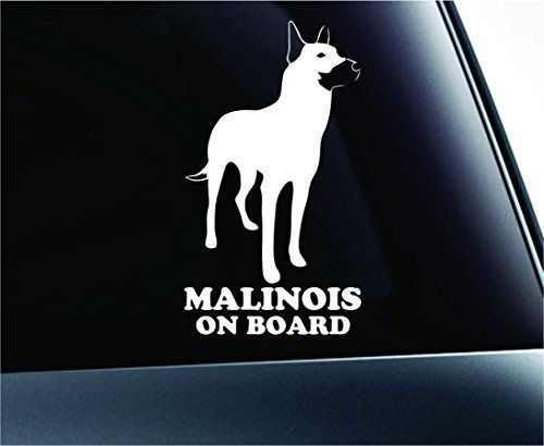 Belgian Malinois on Board Silhouette Symbol Decal Paw Print Dog Puppy Pet Family Breed Love Car Truck Sticker Window (White), Decal Sticker Vinyl Car Home Truck Window Laptop