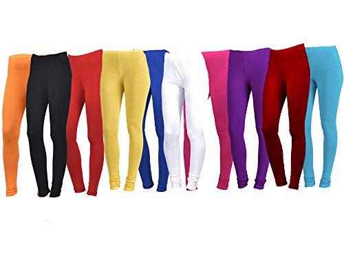 Aashish Garments Women's Plus Size Multicolor Cotton Lycra Churidar Leggings (Pack of 10)