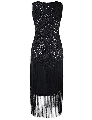 Flapper Mit Art Kleid Gatsby Damen Floral 1920er Perlen Deco Cocktail Herrlich Schwarz Inspiriert Kayamiya 0TYvZIqfT