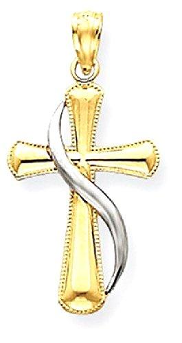 14k Gold Methodist Cross Pendant (ICE CARATS 14k Yellow Gold Two Tone Cross Religious Pendant Charm Necklace Methodist Fine Jewelry Gift Set For Women Heart)