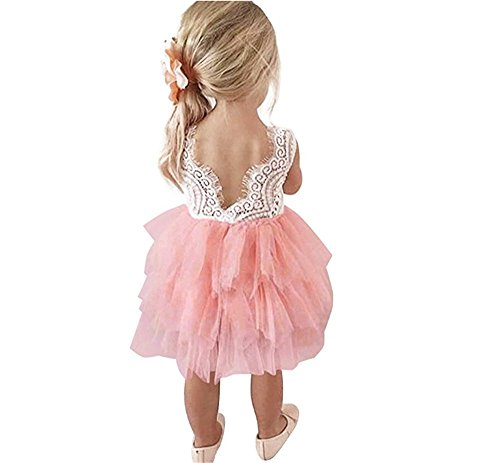 Toddler Baby Flower Girls Princess Tulle Dress Lace Backless Tutu A-line Beaded Party Dresses Pink by HOMAGIC2WE