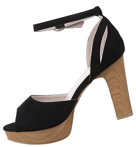 Damen Sandaletten Schuhe High Heels Plateau Pumps Stilettos Schwarz Beige Rot 36 37 38 39 40 41 Schwarz