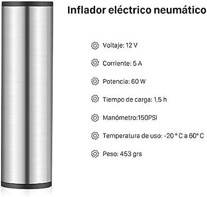 GHB Mini Compresor de Aire Inflador Eléctrico Bomba Eléctrica Portátil 150 PSI Recargable con Pantalla LCD [Color Plateado]