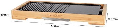 PROFI COOK PC-TYG 1143 - Plancha/Planche Teppanyaki - Cadre en bambou - Thermostats régmabme - Plaques de grille céramisées - 2200 Watts