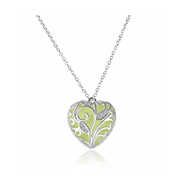 RINHOO Steampunk Magical Fairy Glow in The Dark Heart Charms Pendant Necklace White Gold Plated 3