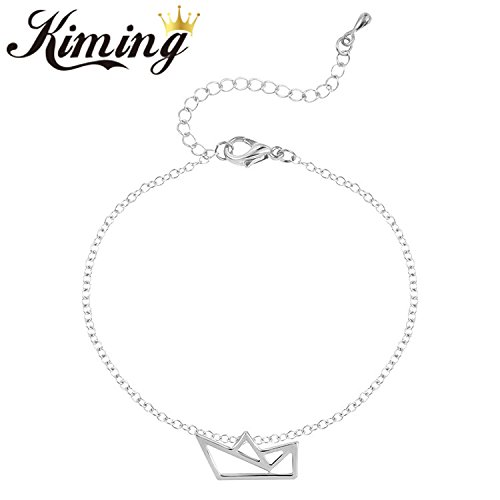 K hollow small paper boats origami ornament Bracelet alloy pendant chain extension wild simple accessories