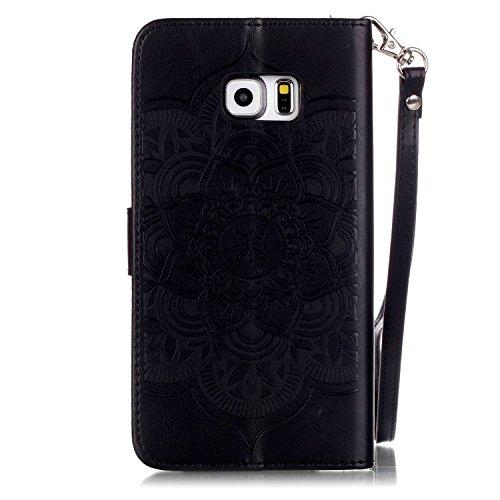 JIALUN-Personality teléfono shell Caso de cuero de la PU sintética de alta calidad con resina 3D Rhinetone Windchime flores en relieve cubierta de la caja del soporte de la cartera con correa de mano  Black