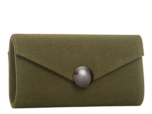 Haute für Diva S Neue Retro faux Wildleder Damen Metall rund Detail Party Clutch Handtasche - Khaki, Medium Khaki