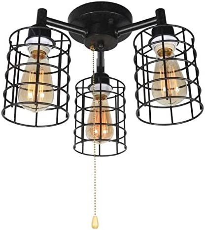 Baiwaiz Industrial Black Ceiling Light With Pull Chain Metal Wire Cage Semi Flush Mount Ceiling Lighting Steampunk Pull String Light Fixture 3 Lights Edison E26 076 Amazon Com