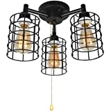 Baiwaiz Industrial Black Ceiling Light with Pull Chain, Metal Wire Cage Semi Flush Mount Ceiling Lighting Steampunk Pull String Light Fixture 3 Lights Edison E26 076