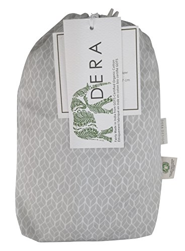 """Organic Cotton Portable Playard Fitted Crib Sheet, 27"""" x 39"""" x 5"""" to Fit Pack 'n Play for Babies & Toddlers, Geo Leaf Print (Grey) by Dera Design"""