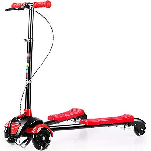 ファッション キックスクーター三輪車スケートボードペダル式乗用スタントスクーター折りたたみTバーハンドルLEDライトアップホイール付き調節可能な B07HCM2NS7 B07HCM2NS7 Red, ツルガシ:78a38d8a --- a0267596.xsph.ru