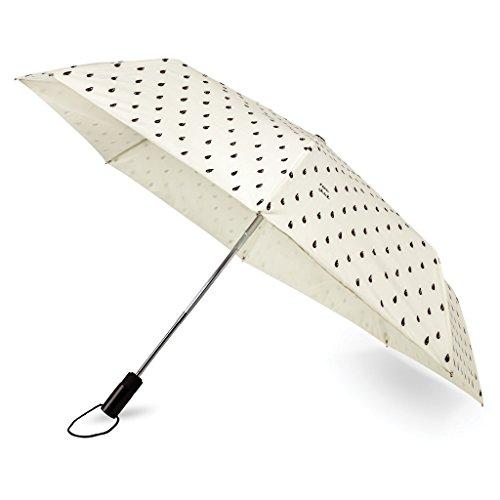 (Kate Spade New York Women's Raindrop Travel Umbrella, Black/White, One Size )