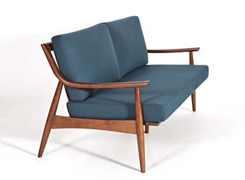 Adam Mid Century Modern Sofa, Hand Crafted in Solid Walnut, Azure Blue Upholstery