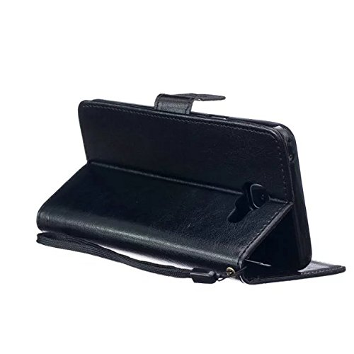 JIALUN-Personality teléfono shell Funda Samsung A510 para Samsung A510, cubierta de la caja de cuero Premium PU de alta calidad Funda de la caja del soporte del monedero para Samsung A510 A5 en color  Black