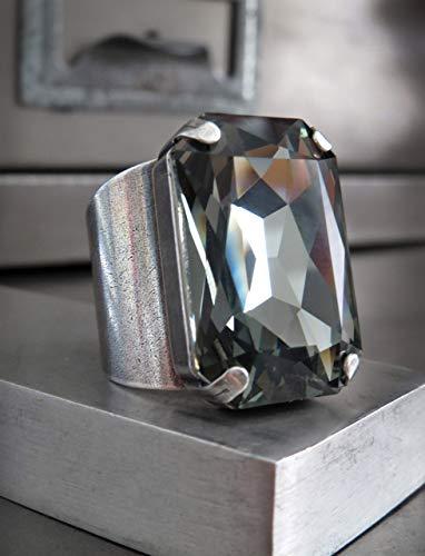 - Large Crystal Ring with Black Diamond Swarovski Crystal, Octagon Rectangle Unisex Mens Ring