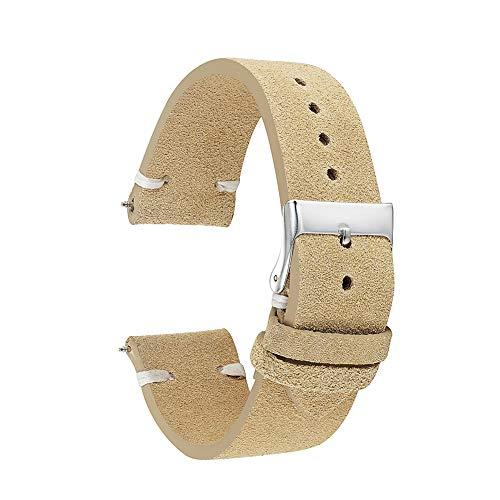 Beige Strap Watch - KZFashions Suede Replacement Watch Strap Band J34 (22mm, Beige)