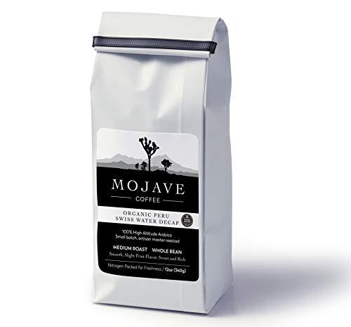 Mojave Coffee USDA Organic Peru Swiss Water Decaf, Single-Origin, Small-Batch, Fresh Roasted, 100% High-Altitude Premium Arabica, Medium Roast,12oz (Whole - Decaf Single Origin Coffee