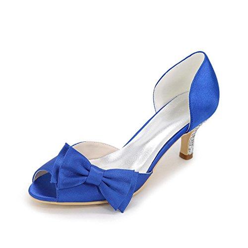 L@YC Mujer-Tacón Bajo-Tacones / Punta RedondaBoda / Vestido / Fiesta y Noche-Seda Blue