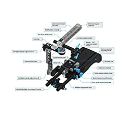 Fotga Quick Set Up Rig with 15mm Standard Quick Release Rail Rod Plate Rotatable Handle Camera Cage for Blackmagic BMCC BMPCC 5DII III A7 A7S A7R2 A7RM2 GH3 GH4 7D D7000 D7100 D750 D800 DSLR