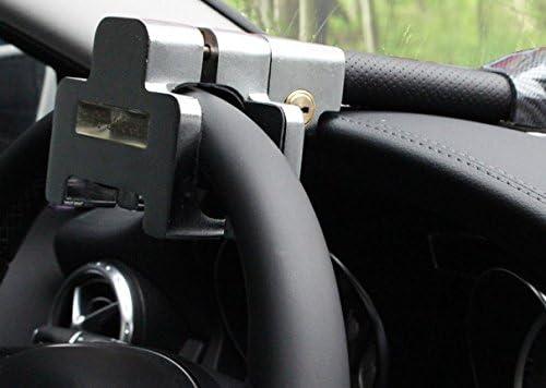 Felimoa 高性能 ハンドルロック 盗難防止 車 窃盗対策 LED警告灯 音声警報機能付き