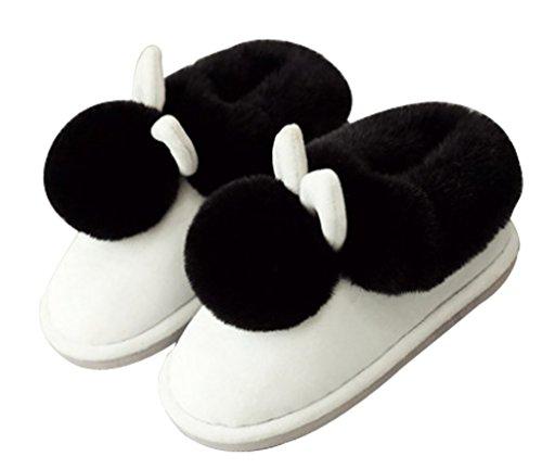 Cattior Pantoufles De Lapin Chaud Des Femmes Chaussons Dintérieur En Plein Air Chaussures De Maison Blanc