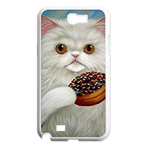 Samsung Galaxy N2 7100 Cell Phone Case White PERSIAN CAT AND DONUT BNY_6982149