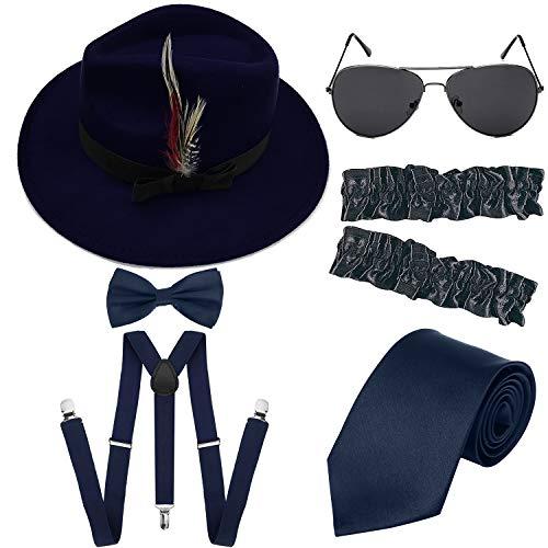 (Men's Roaring 1920s Set Manhattan Fedora Hat,Y-Back Suspenders & Pre Tied Bow Tie, Gangster Tie & Fake Mustache (OneSize, G-NavyBlueHat &)